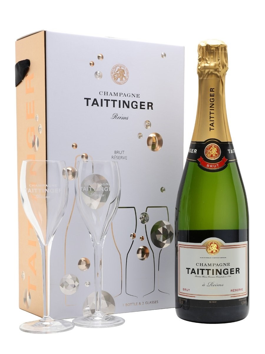 Taittinger Brut Reserve Champagne  Glass Set